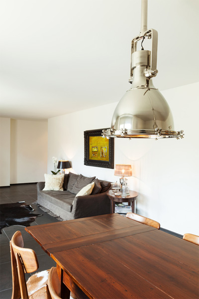 Modern Interior with Oversized Fixture